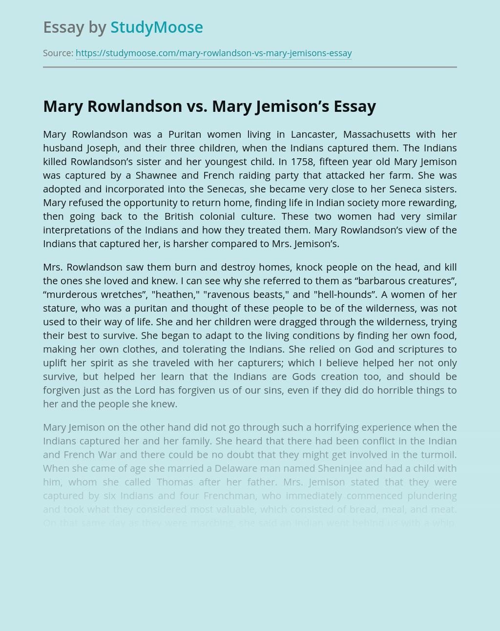 Mary Rowlandson vs. Mary Jemison's