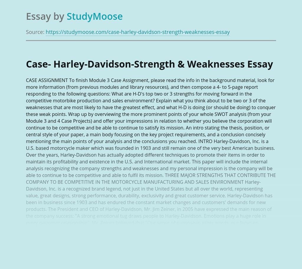 Case- Harley-Davidson-Strength & Weaknesses