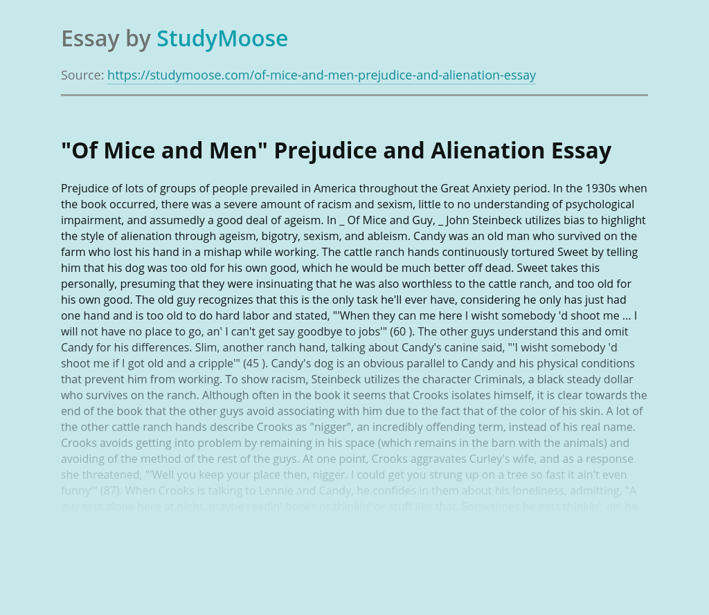 """Of Mice and Men"" Prejudice and Alienation"