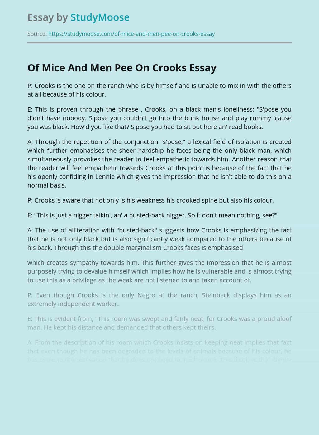 Of Mice And Men Pee On Crooks