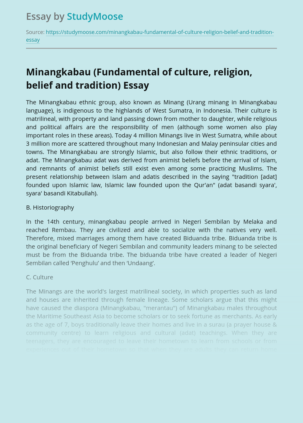 Minangkabau (Fundamental of culture, religion, belief and tradition)