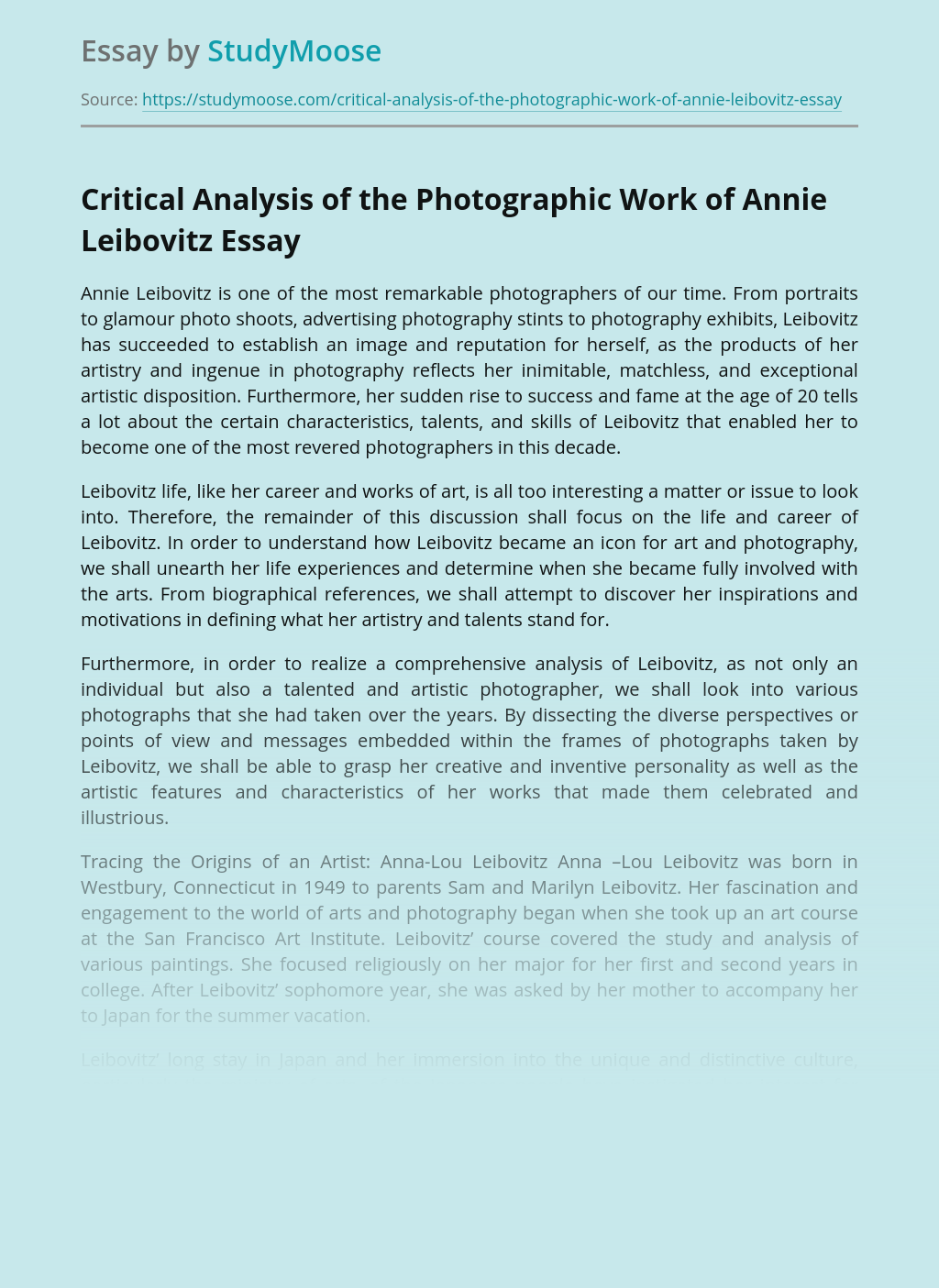 Critical Analysis of the Photographic Work of Annie Leibovitz