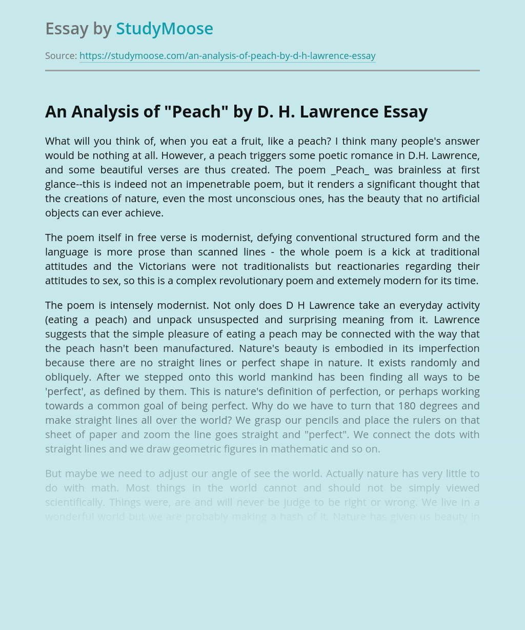 "An Analysis of ""Peach"" by D. H. Lawrence"
