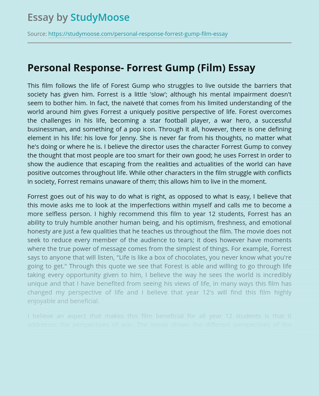 Personal Response- Forrest Gump (Film)
