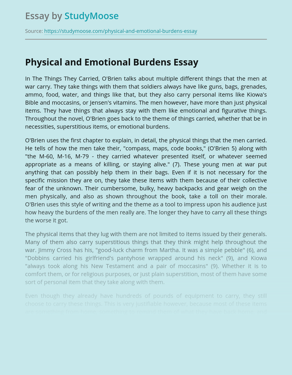 Physical and Emotional Burdens
