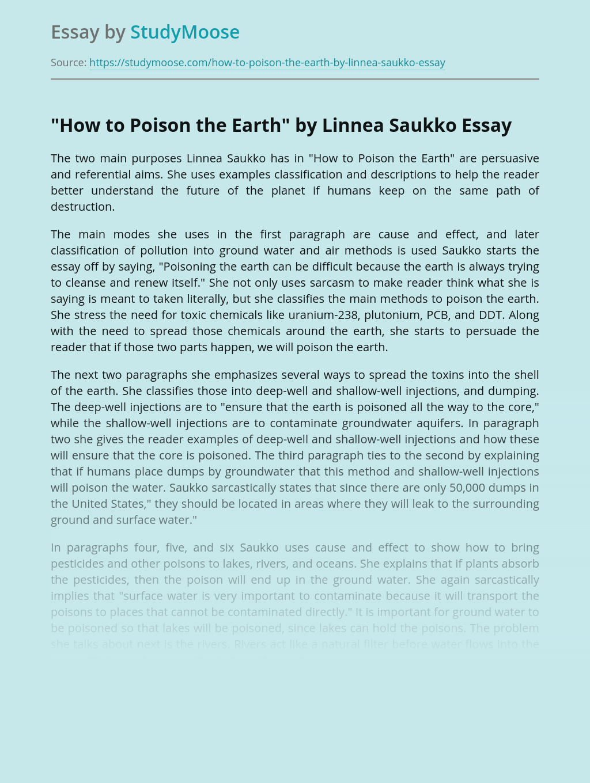 """How to Poison the Earth"" by Linnea Saukko"