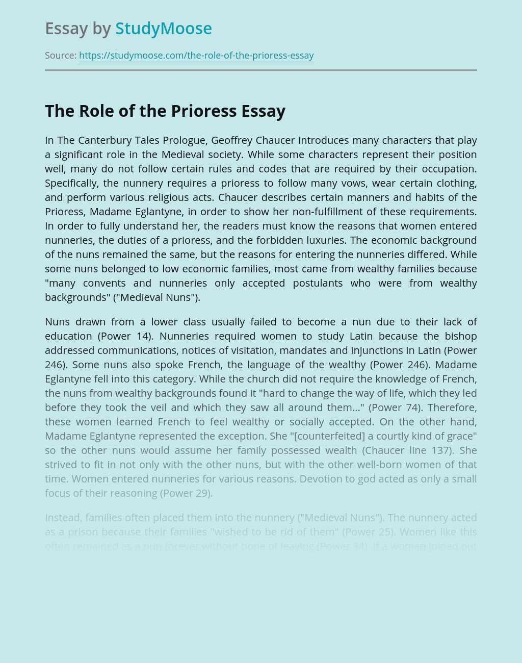 The Role of the Prioress