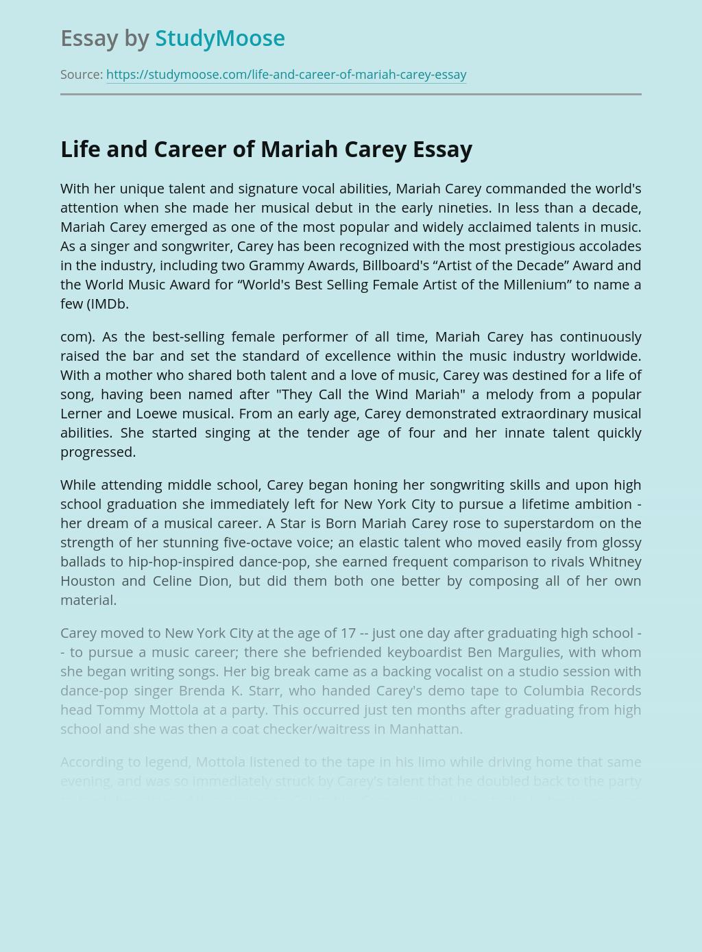 Life and Career of Mariah Carey