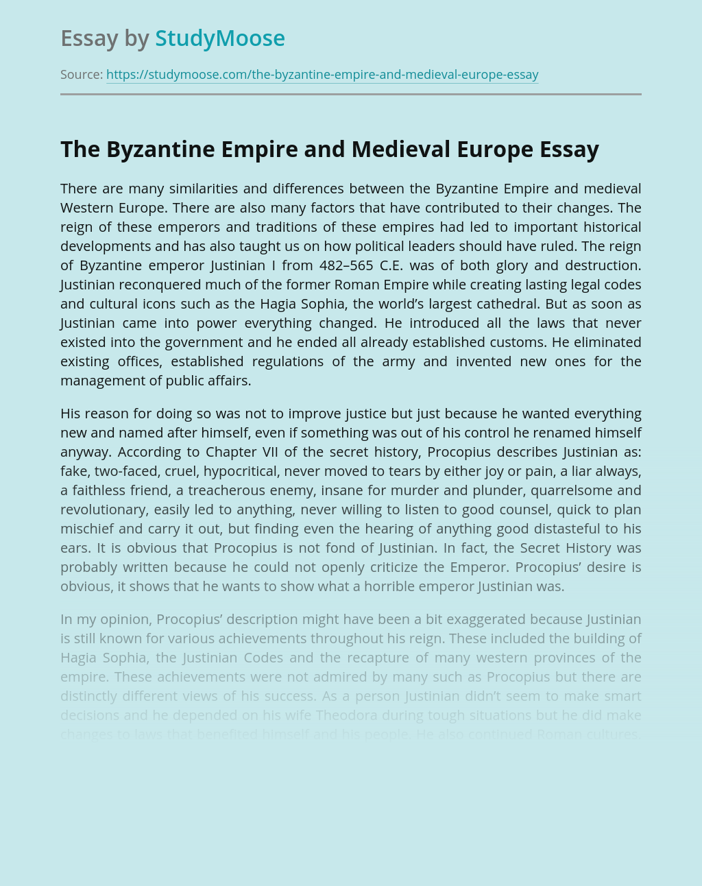 The Byzantine Empire and Medieval Europe
