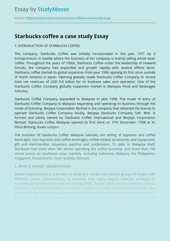 Starbucks coffee a case study