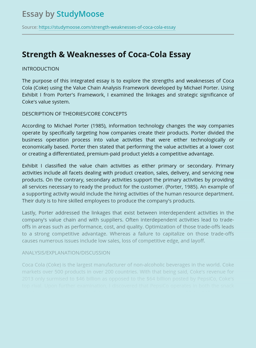 Strength and Weaknesses of Coca Cola Company