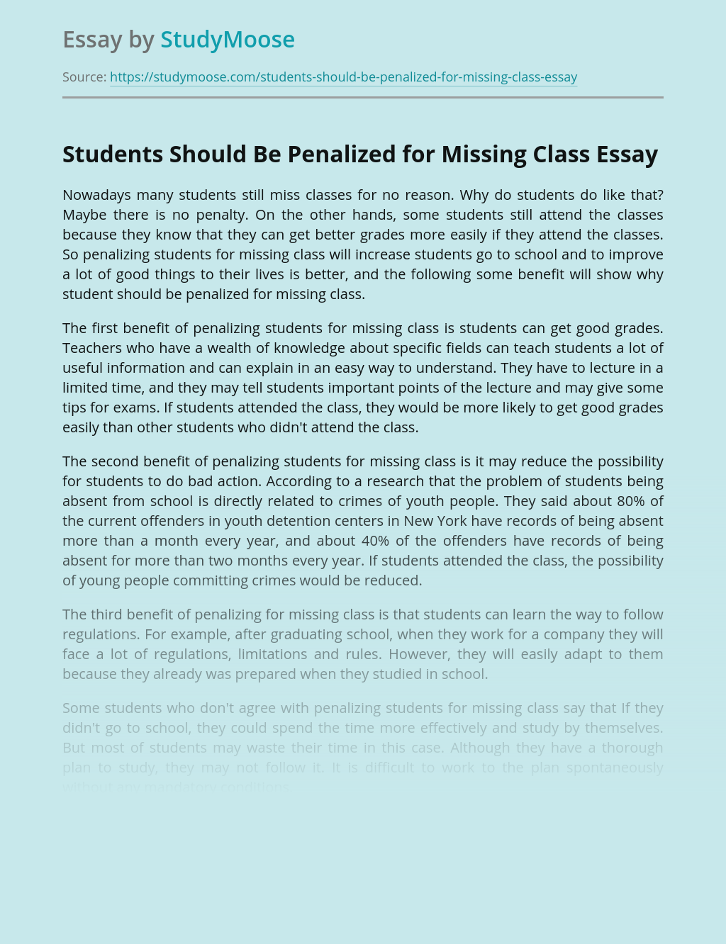 Students Should Be Penalized for Missing Class