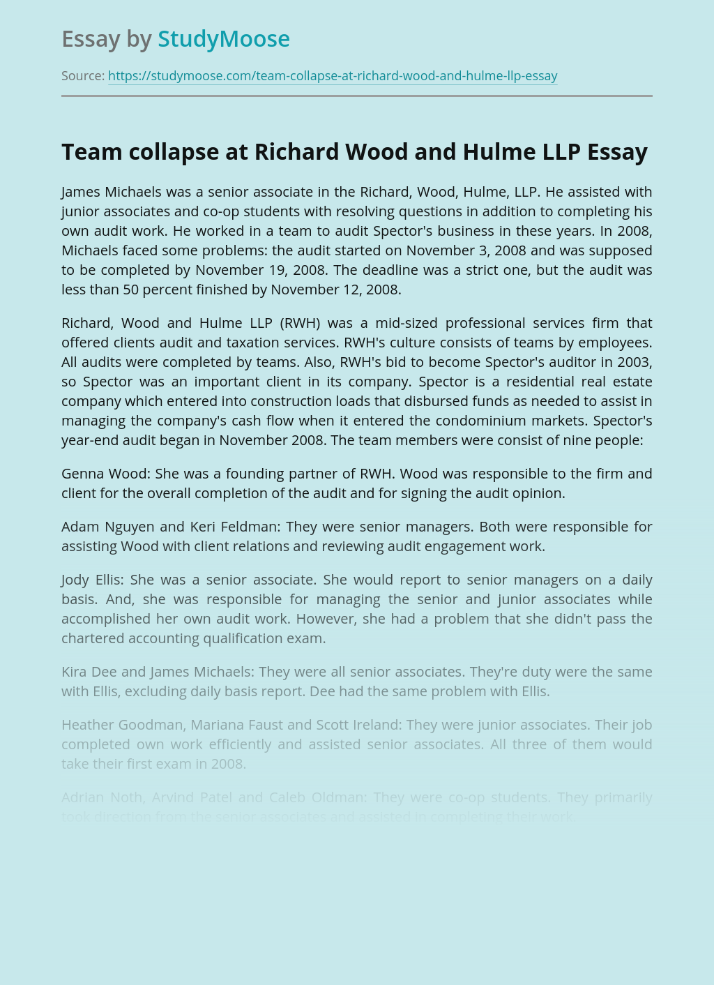 Team collapse at Richard Wood and Hulme LLP