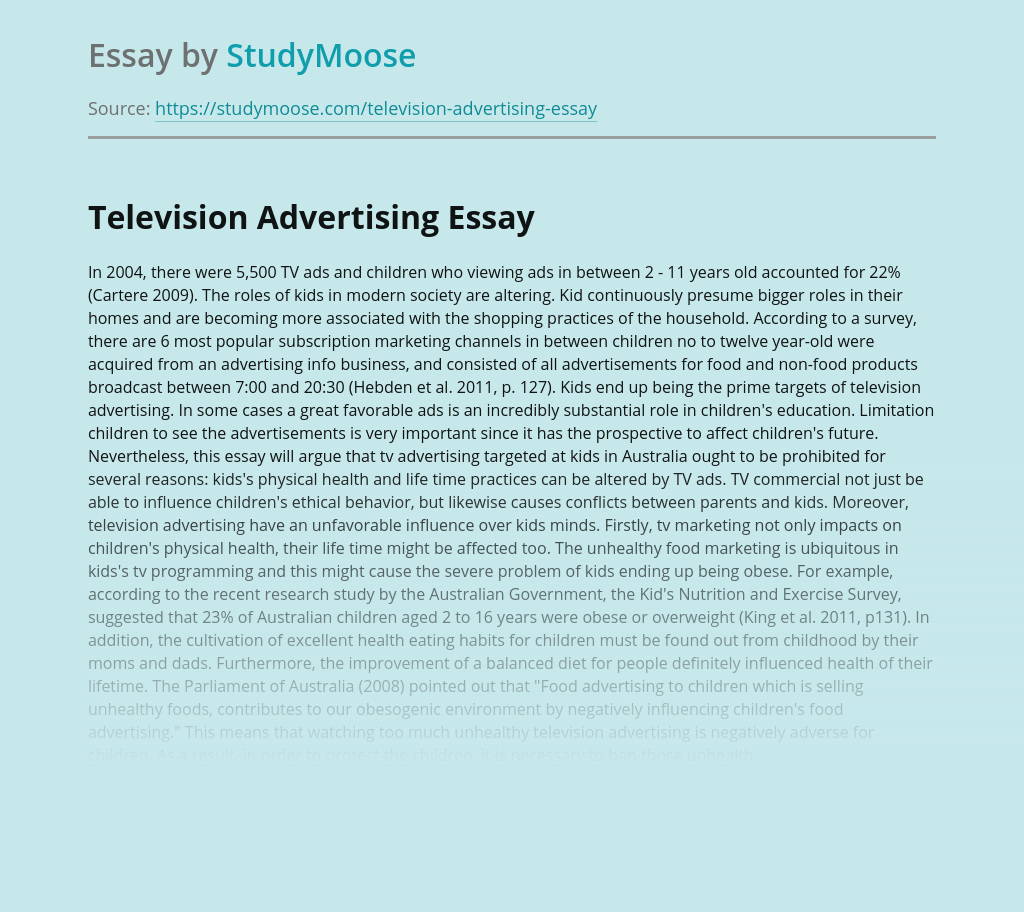 Essay about advertising on television