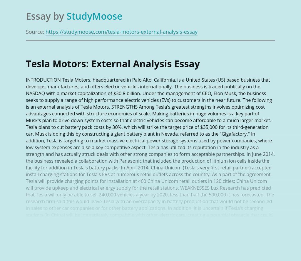 Tesla Motors: External Analysis