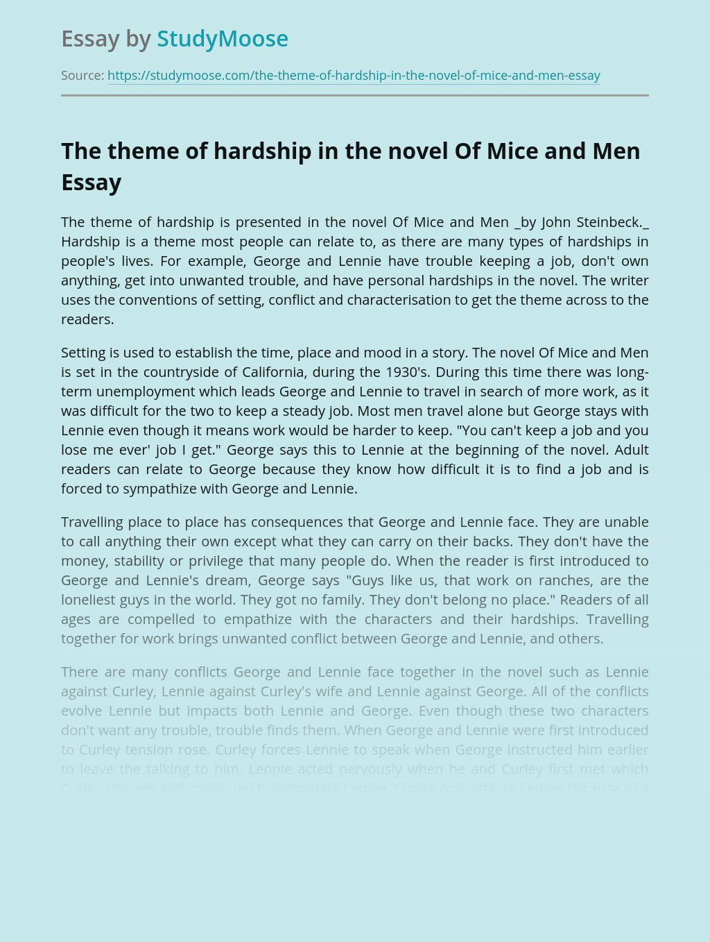 The theme of hardship in the novel Of Mice and Men