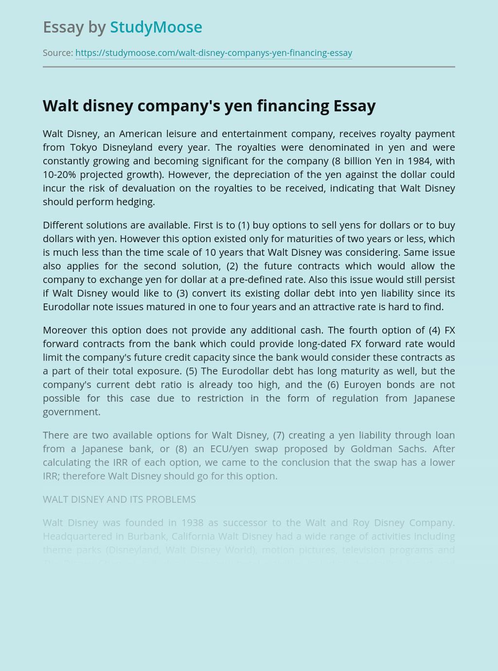 Walt disney company's yen financing