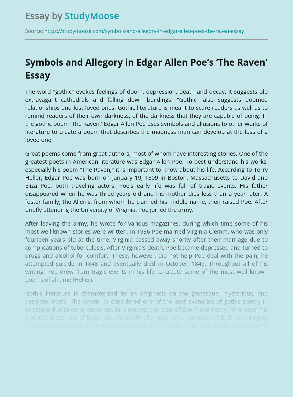 Symbols and Allegory in Edgar Allen Poe's 'The Raven'