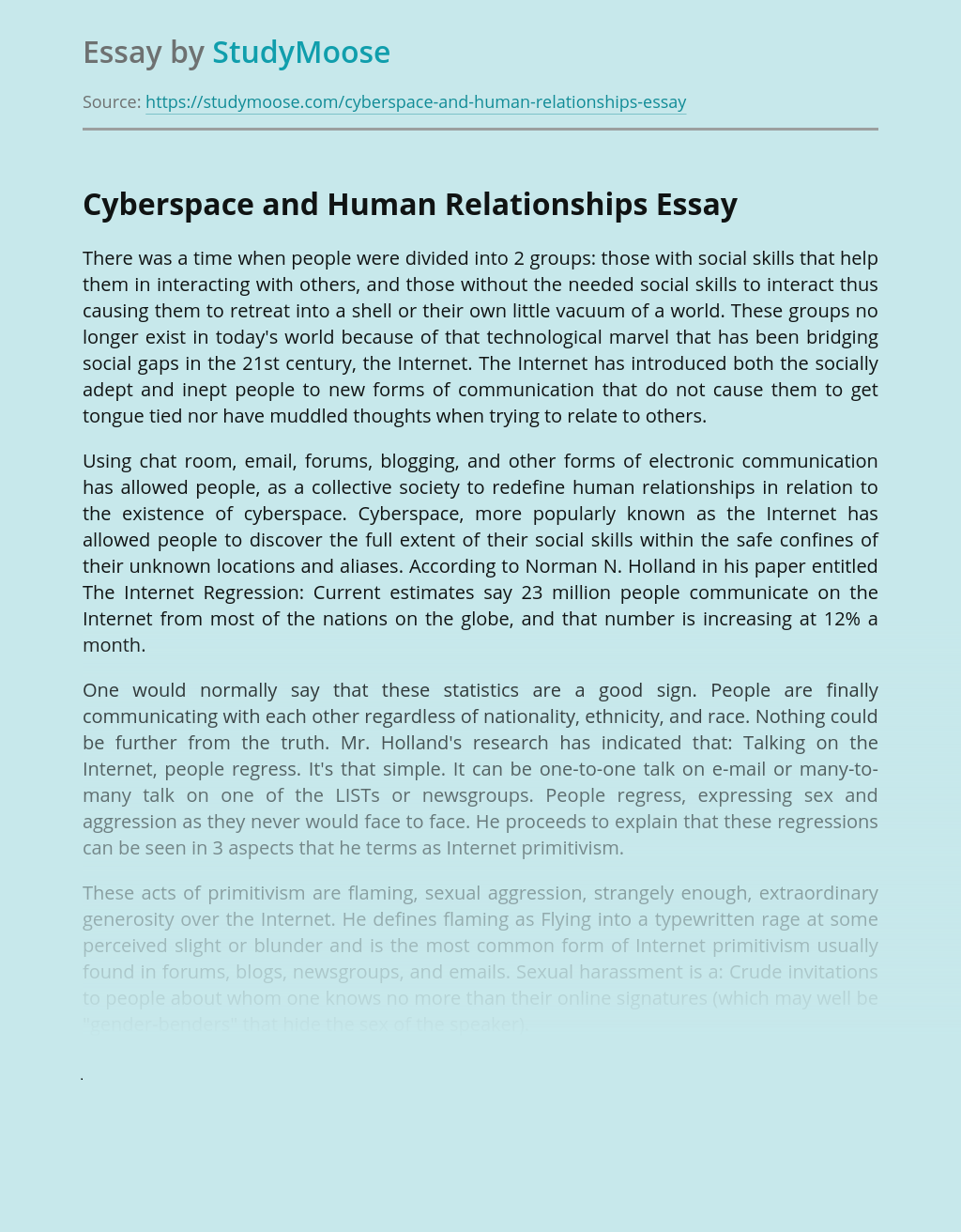 Cyberspace and Human Relationships