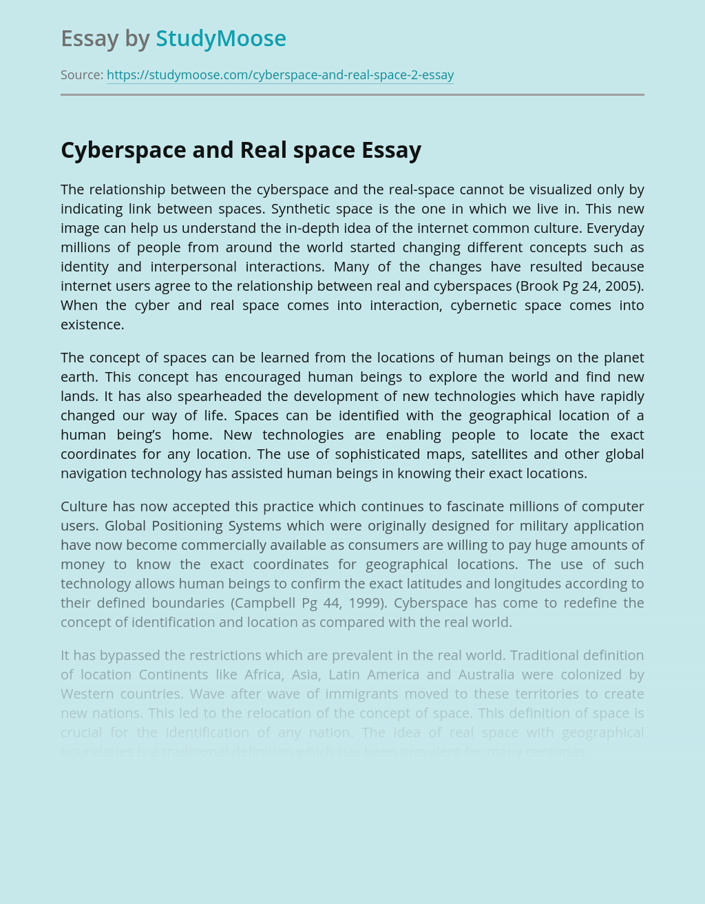 Cyberspace and Real space
