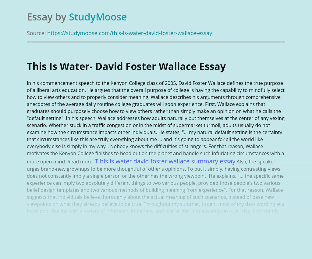 This Is Water- David Foster Wallace