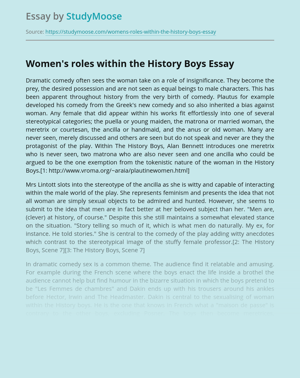 Women's roles within the History Boys