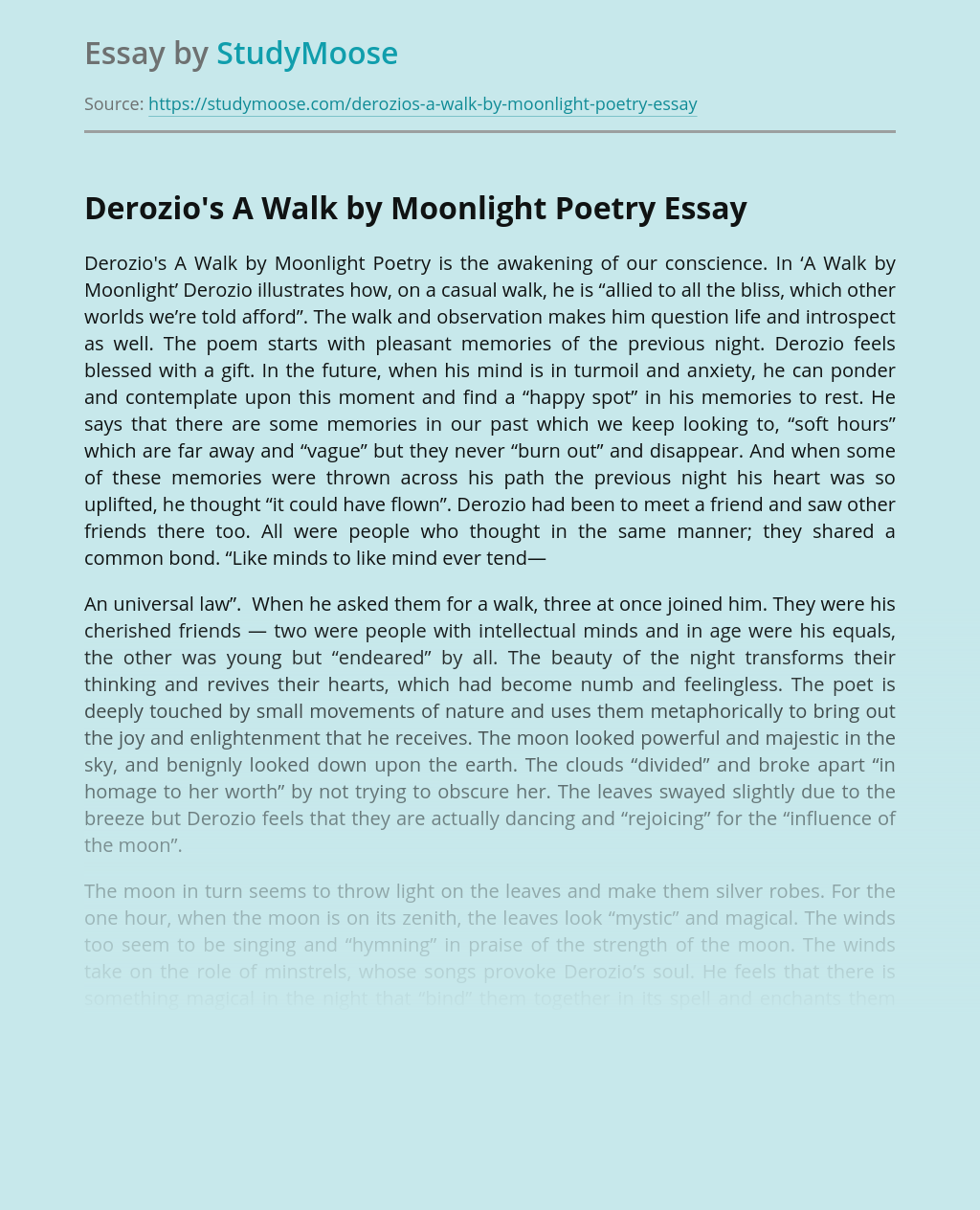 Derozio's A Walk by Moonlight Poetry
