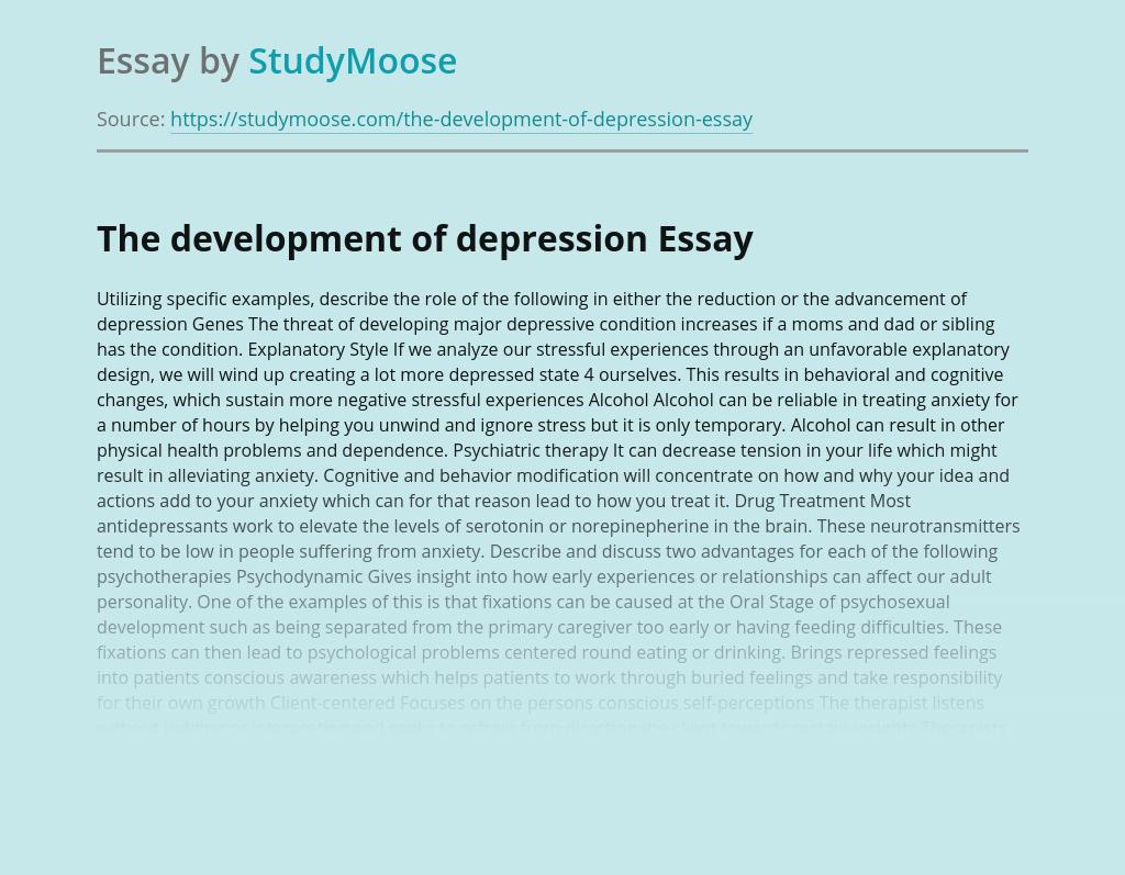 The development of depression