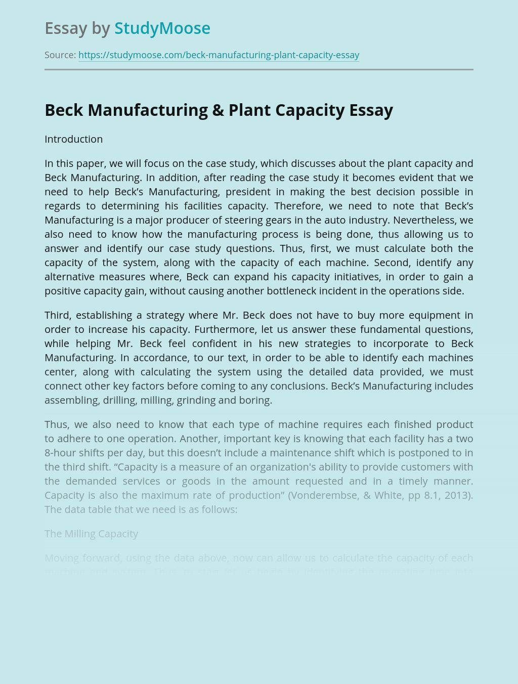 Beck Manufacturing & Plant Capacity