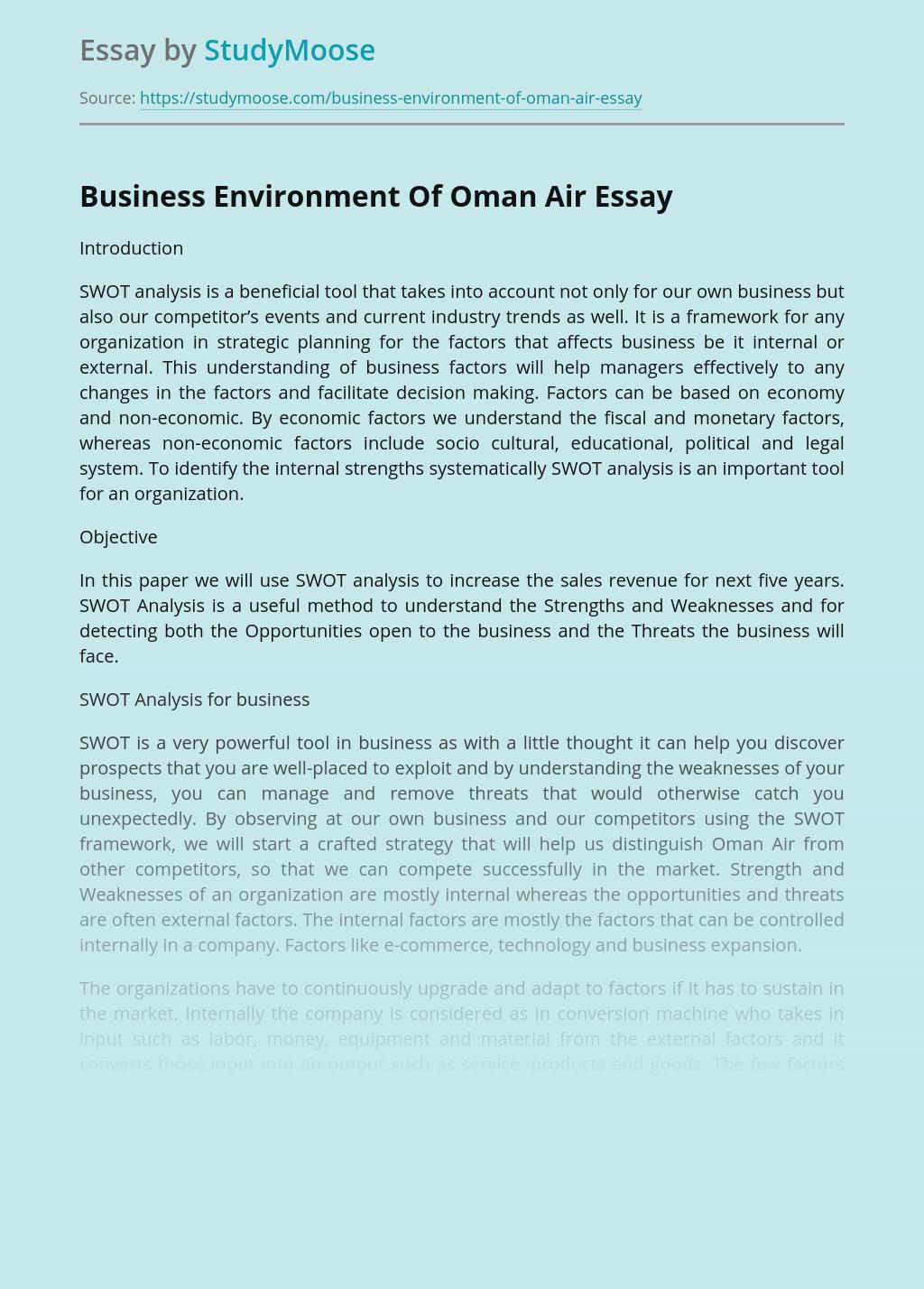 Business Environment Of Oman Air
