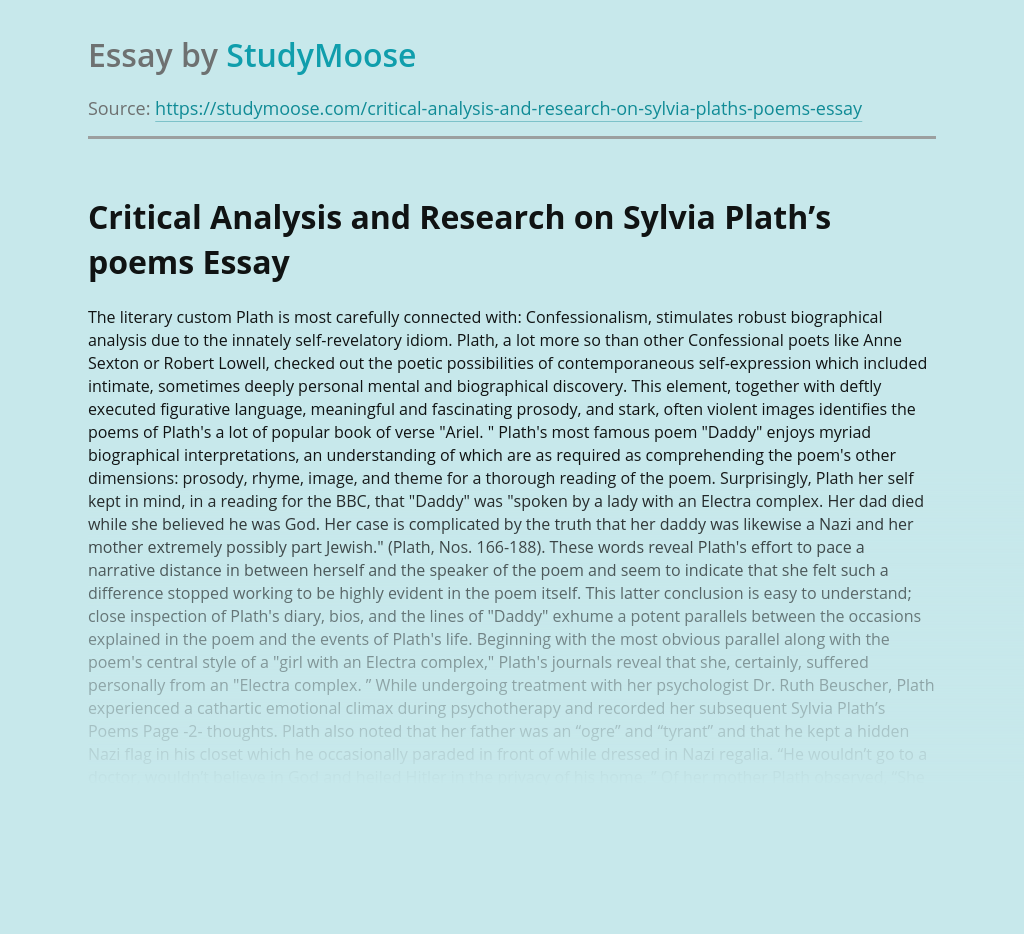 Critical Analysis and Research on Sylvia Plath's poems