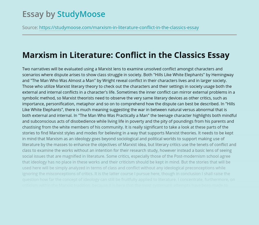 Marxism in Literature:  Conflict in the Classics