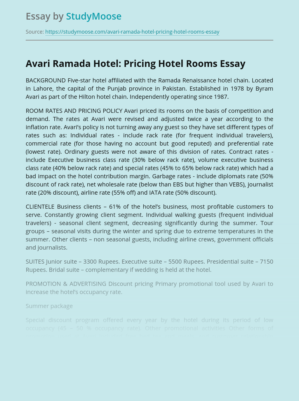 Avari Hotel Rooms Prices in Hospitality Industry