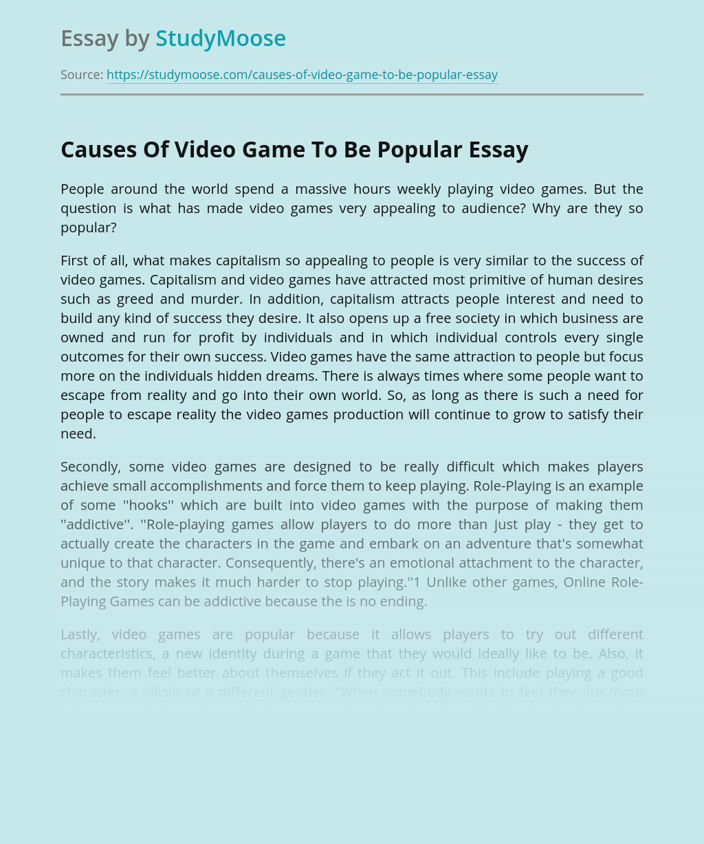 Causes Of Video Games To Be Popular