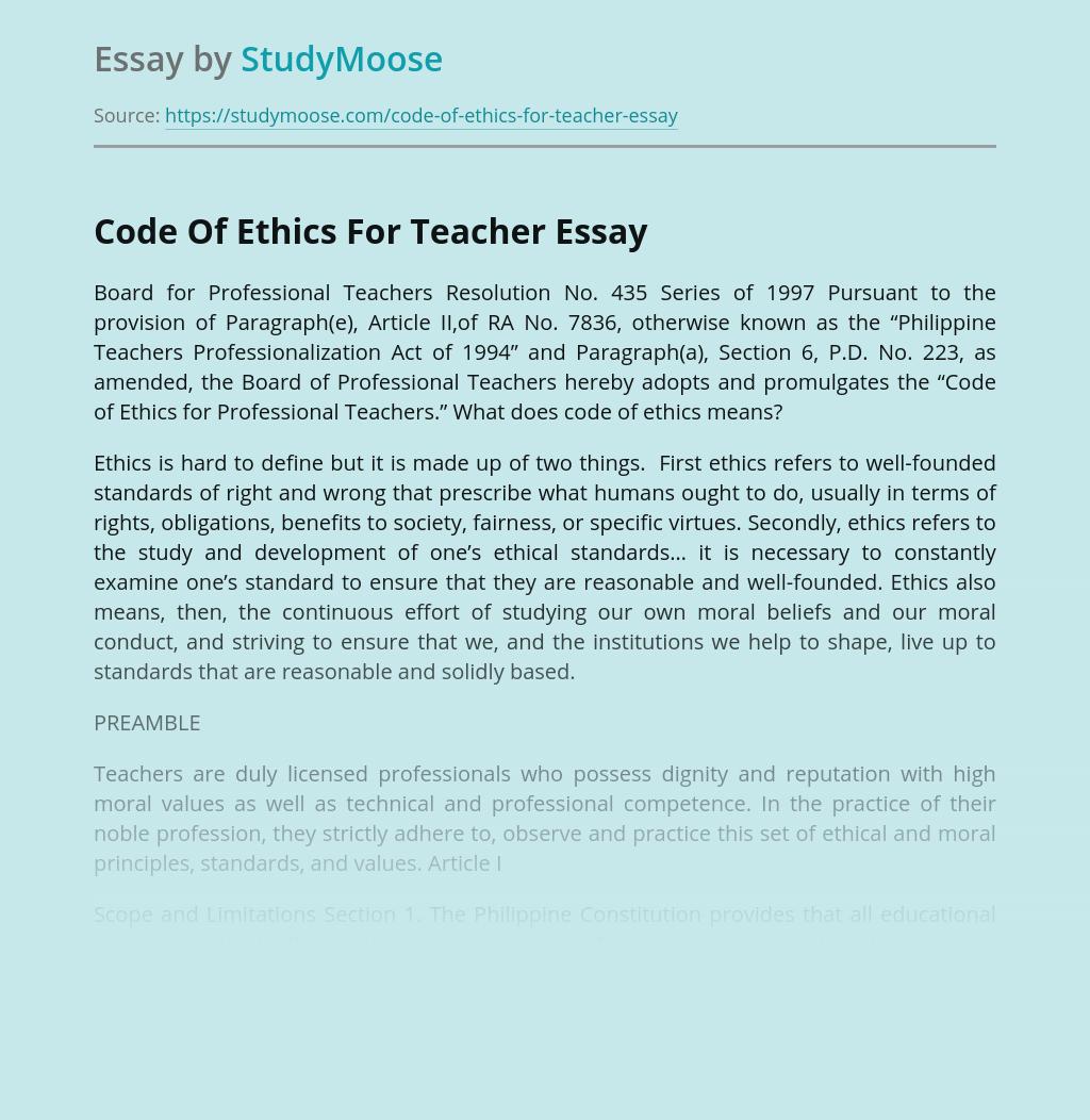 Code Of Ethics For Teacher