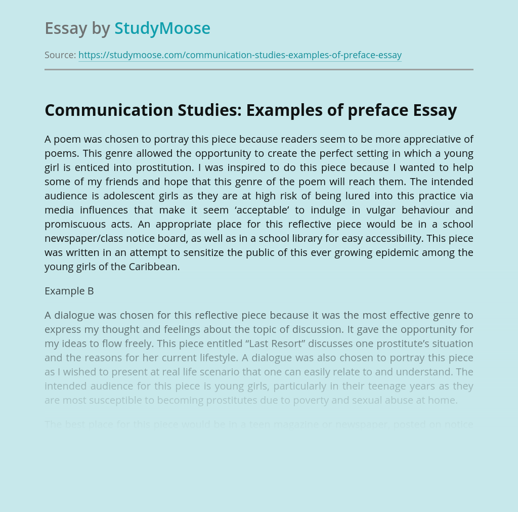 Communication Studies: Examples of preface