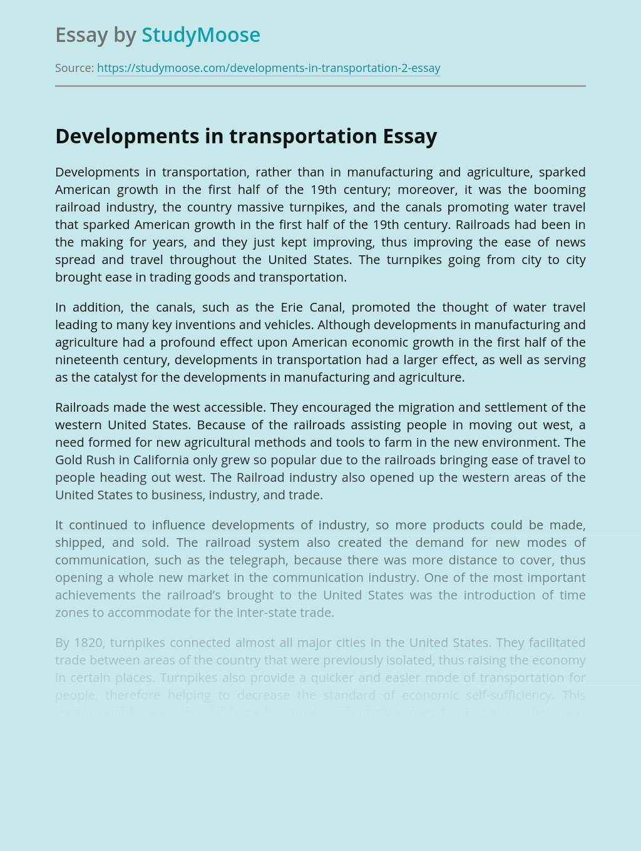 Developments in transportation