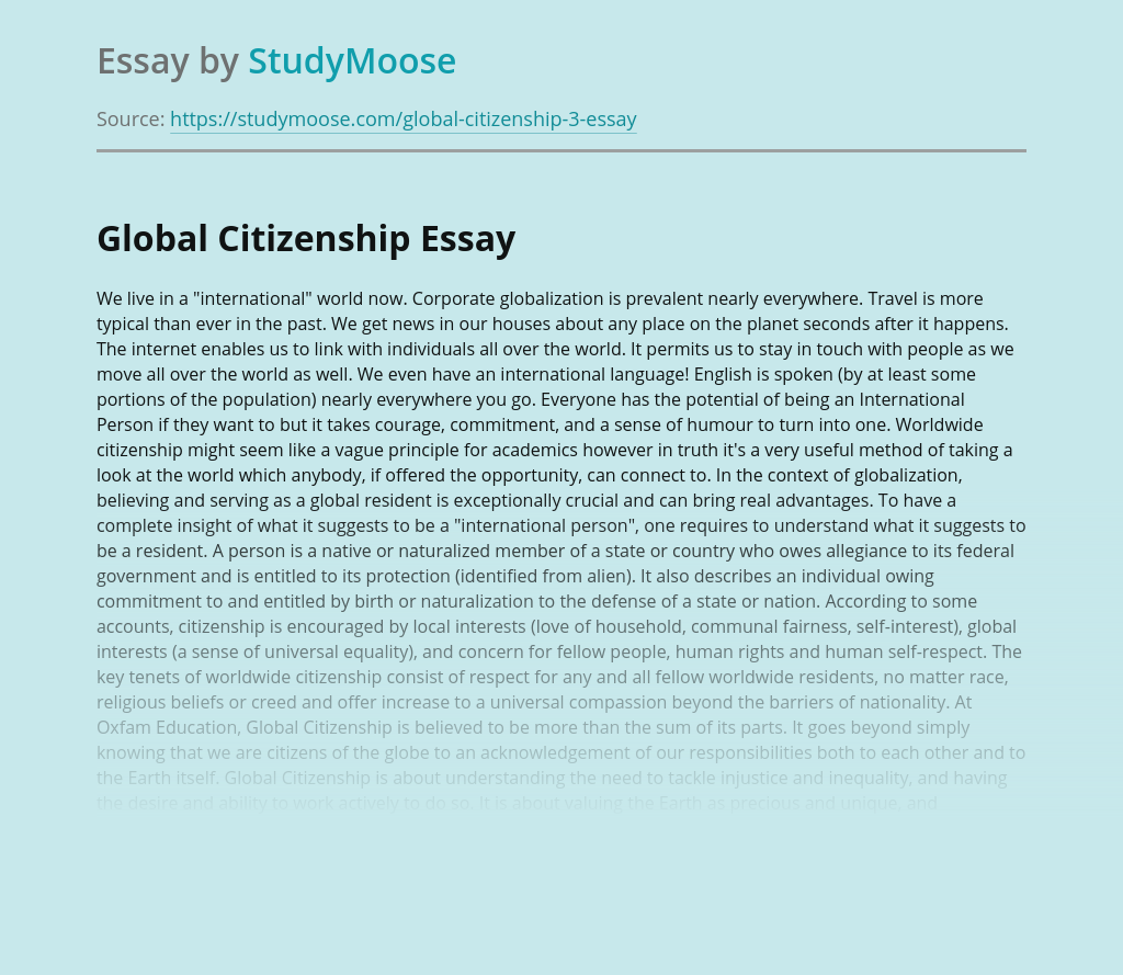 Importance of Global Citizenship