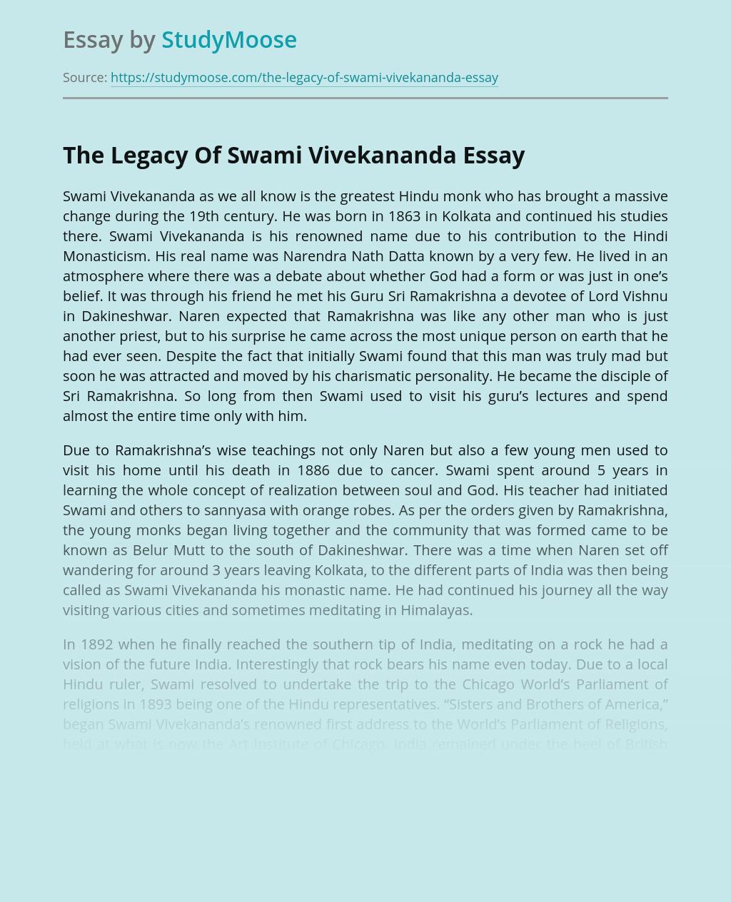 The Legacy Of Swami Vivekananda