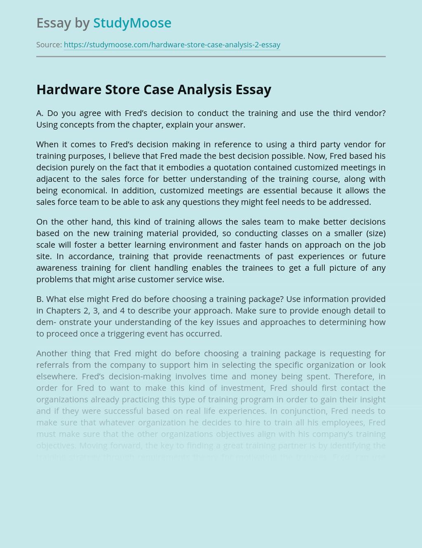 Hardware Store Case Analysis