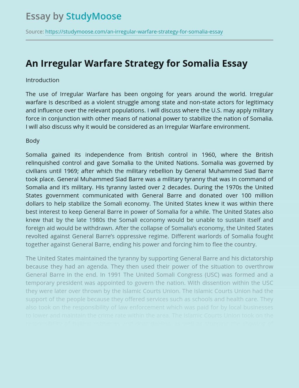An Irregular Warfare Strategy for Somalia
