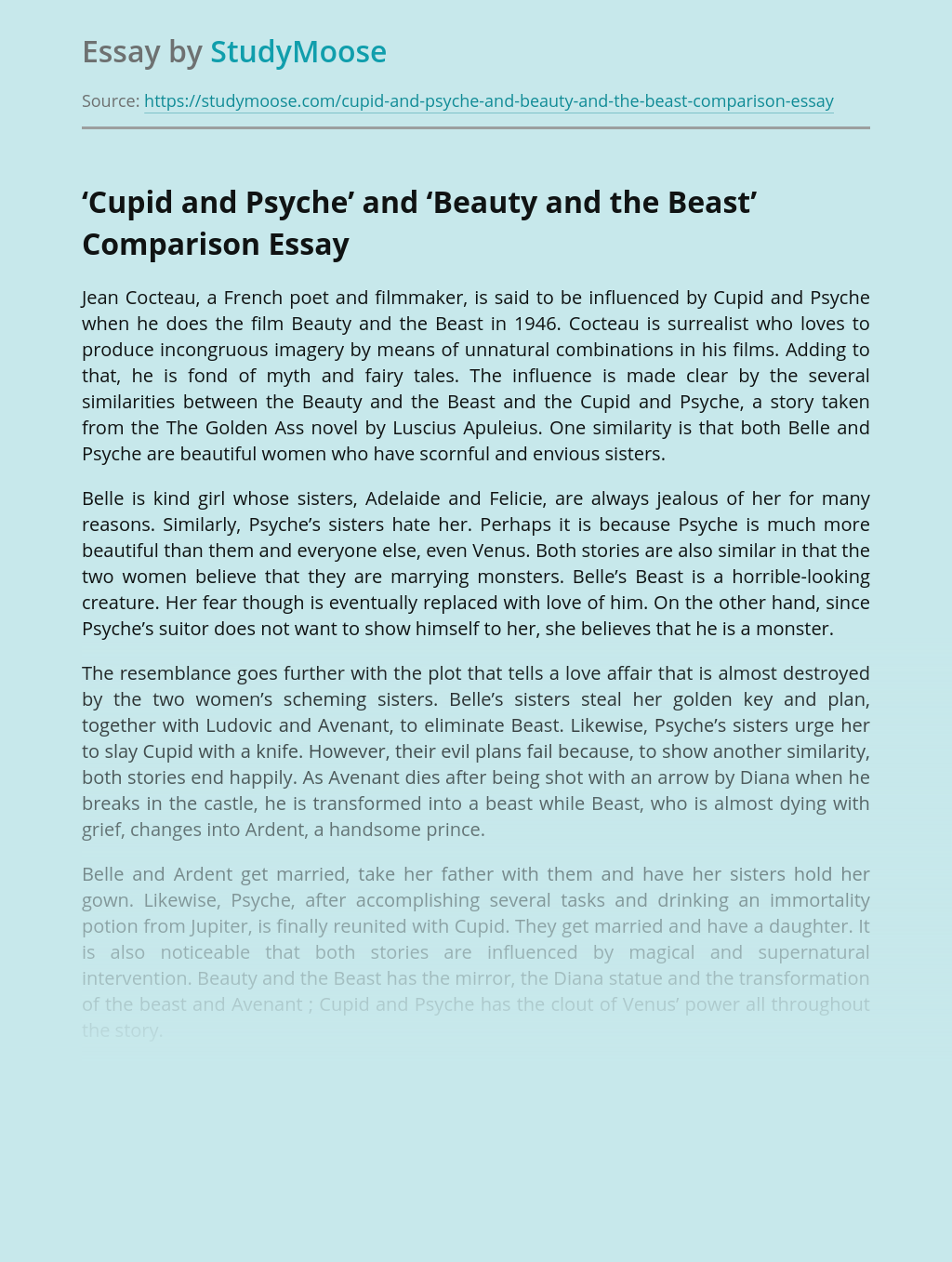 'Cupid and Psyche' and 'Beauty and the Beast' Comparison