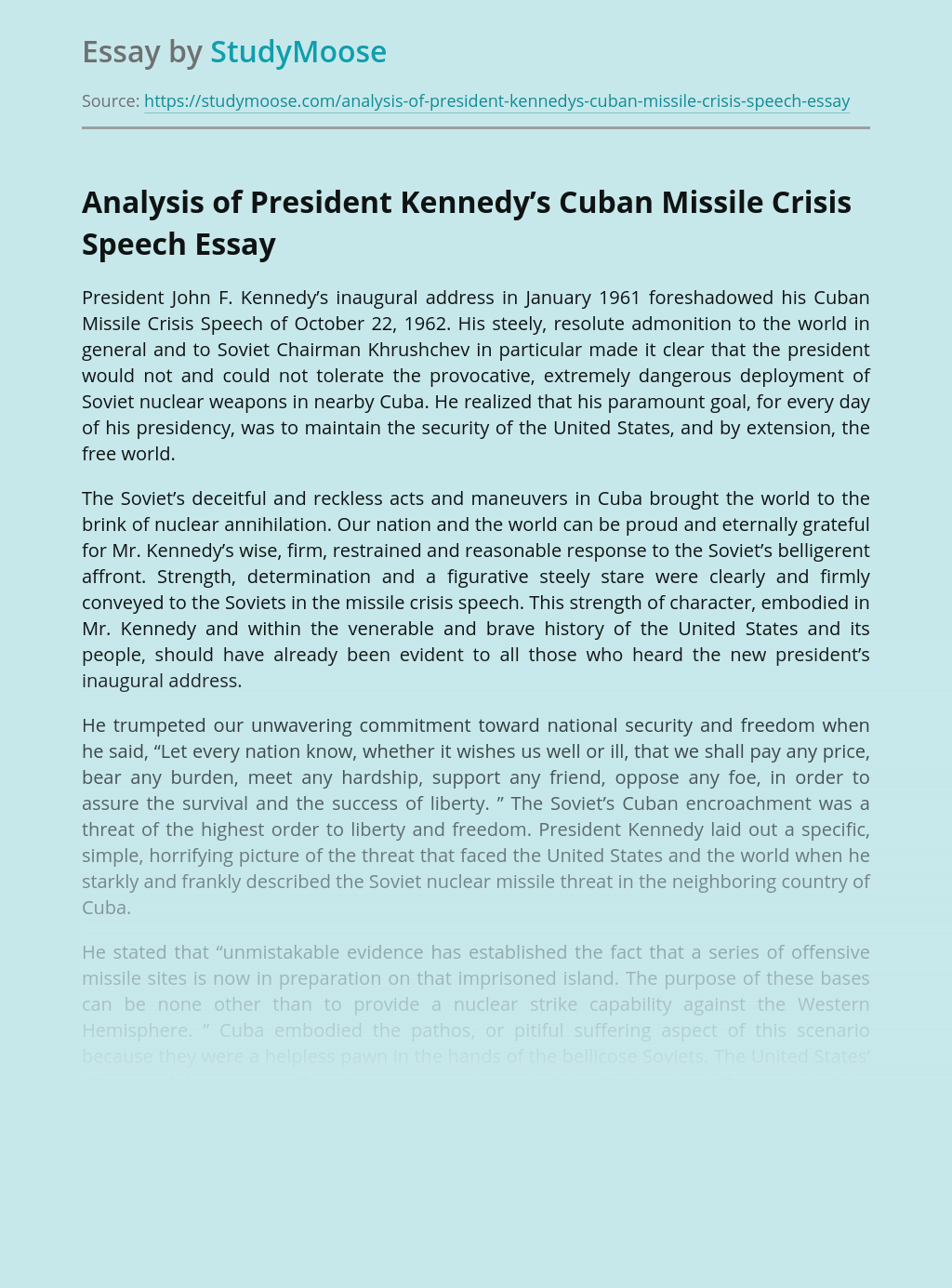 Analysis of President Kennedy's Cuban Missile Crisis Speech