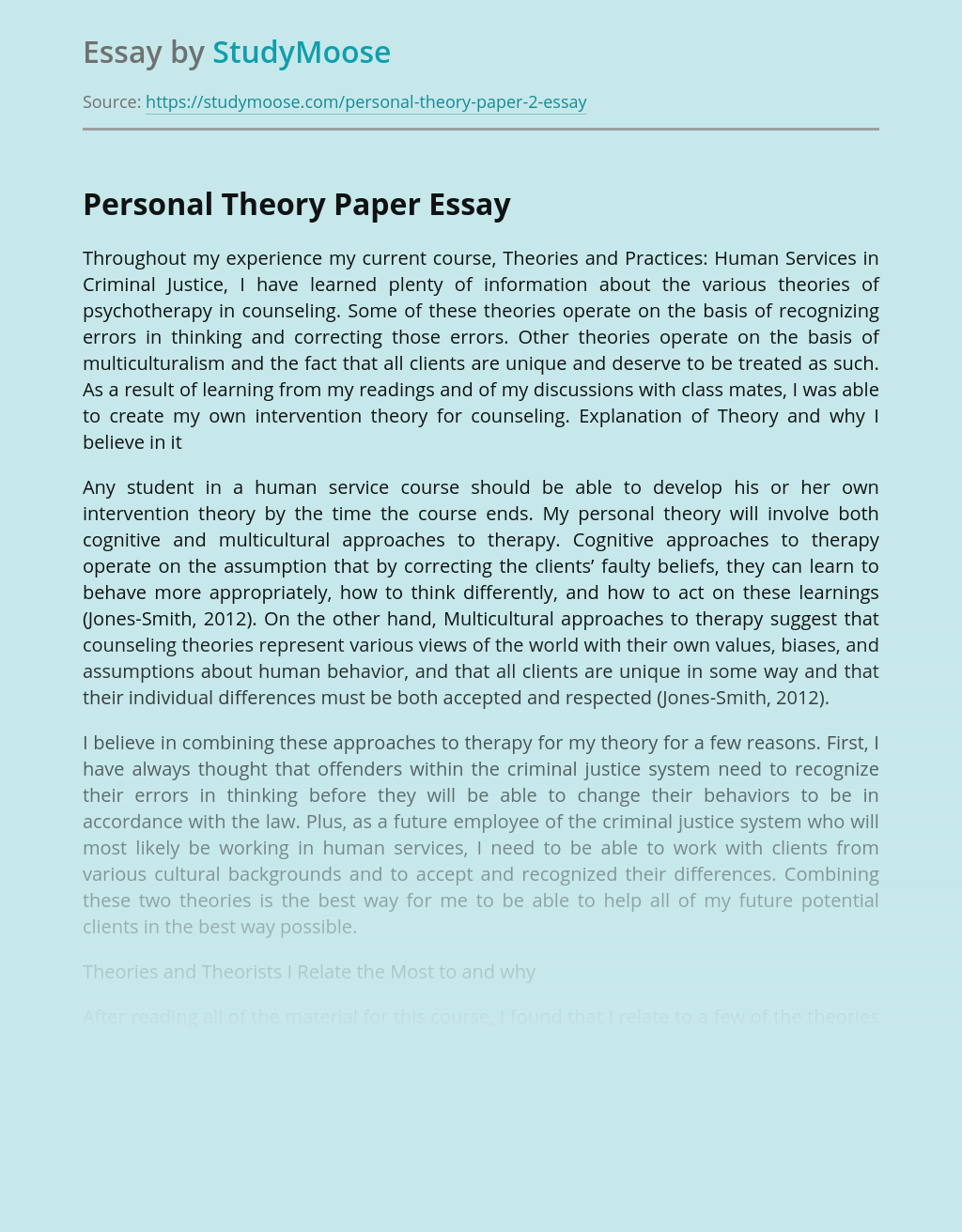 Personal Theory Paper
