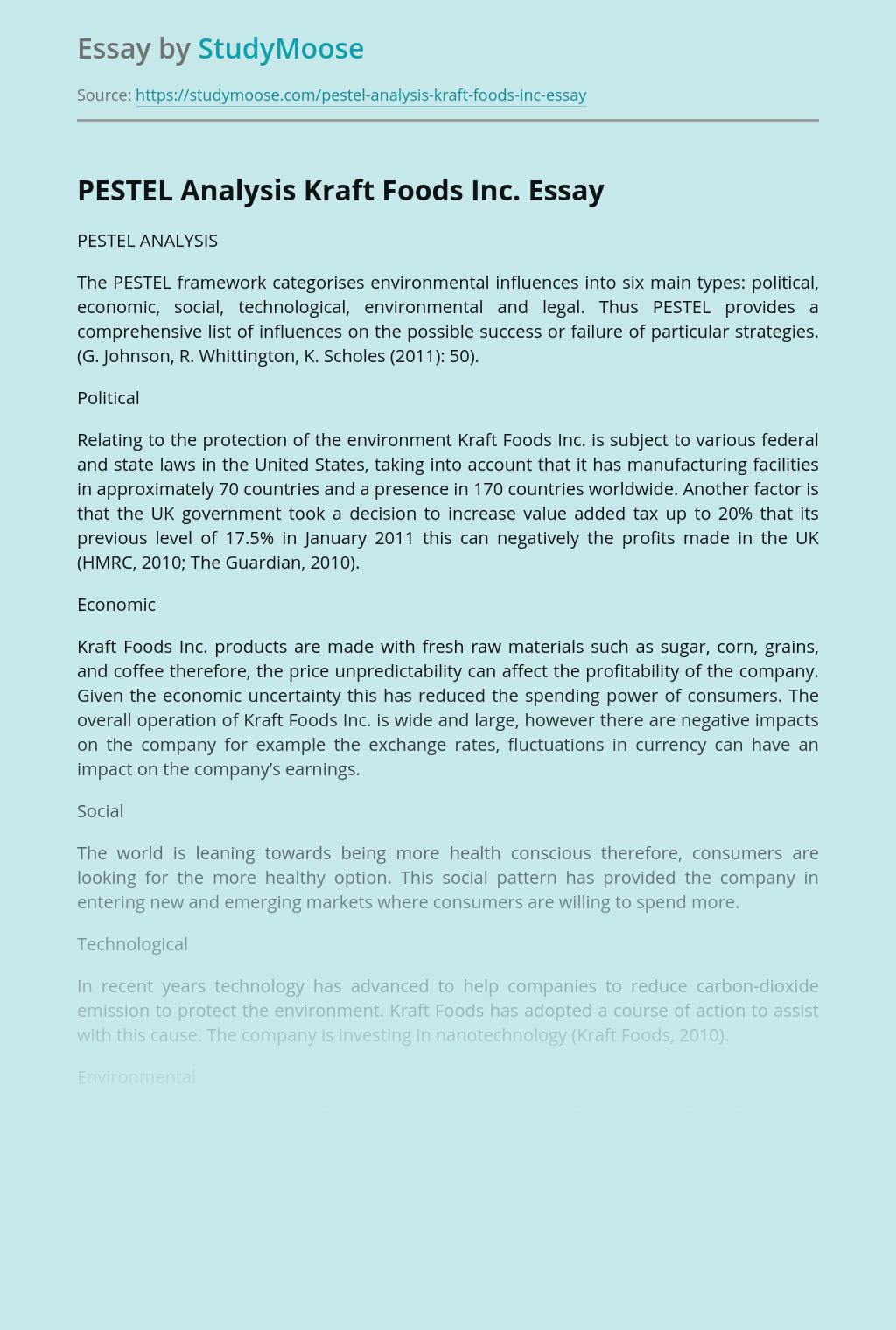 PESTEL Analysis Kraft Foods Inc.