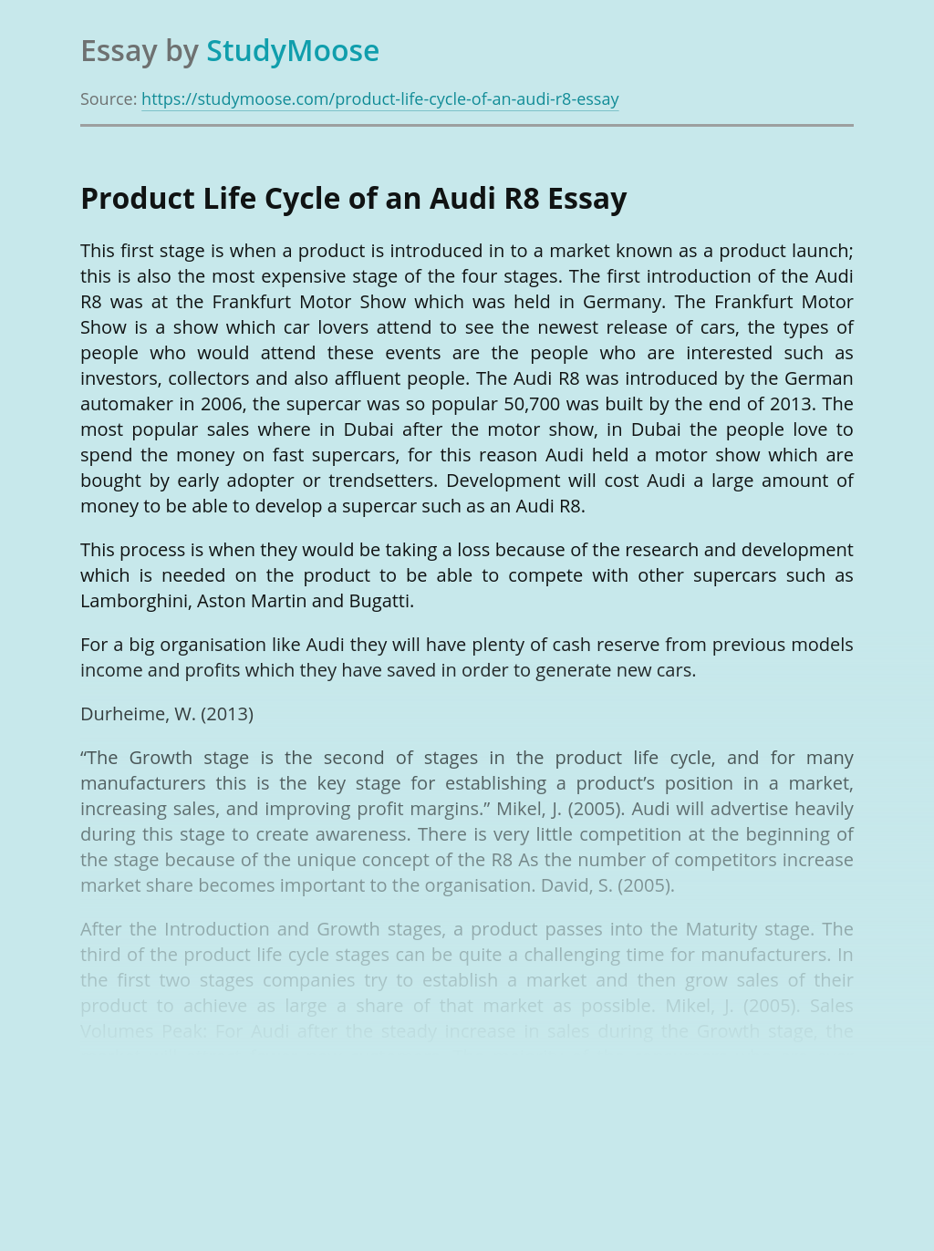 ?Product Life Cycle of an Audi R8