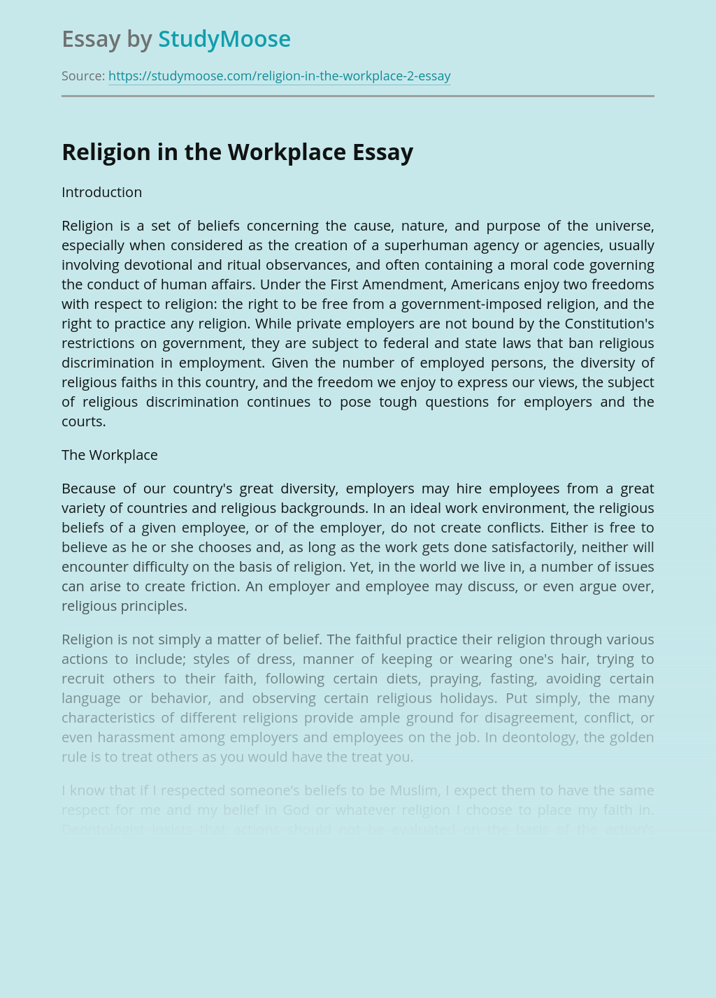 Religion in the Workplace