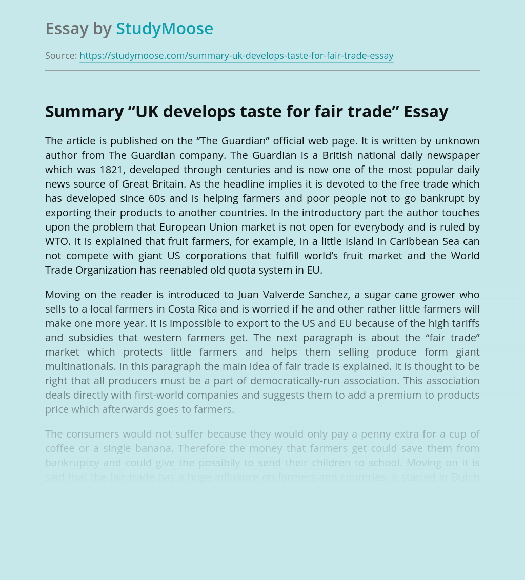 """Summary """"UK develops taste for fair trade"""""""