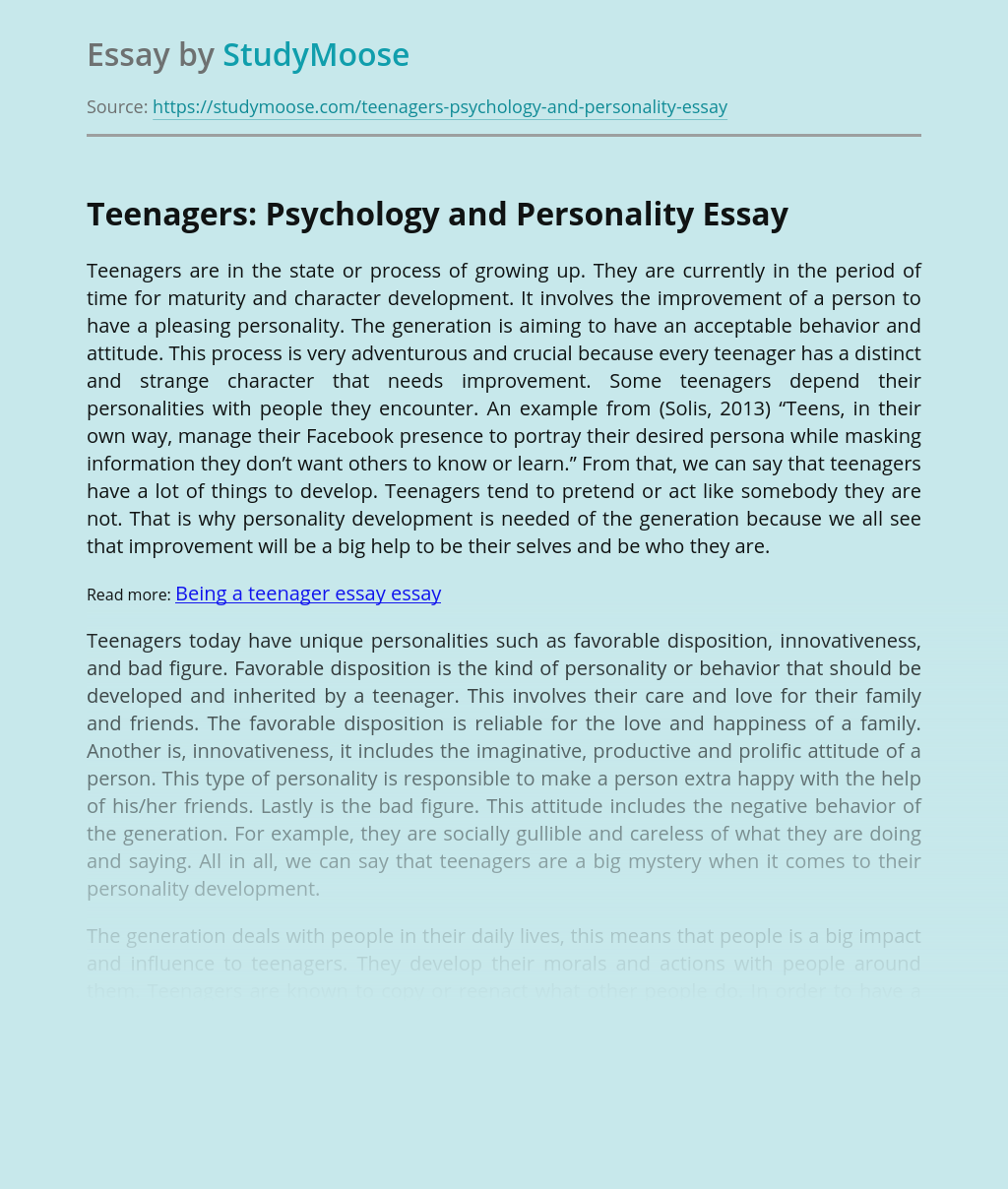 Teenagers: Psychology and Personality