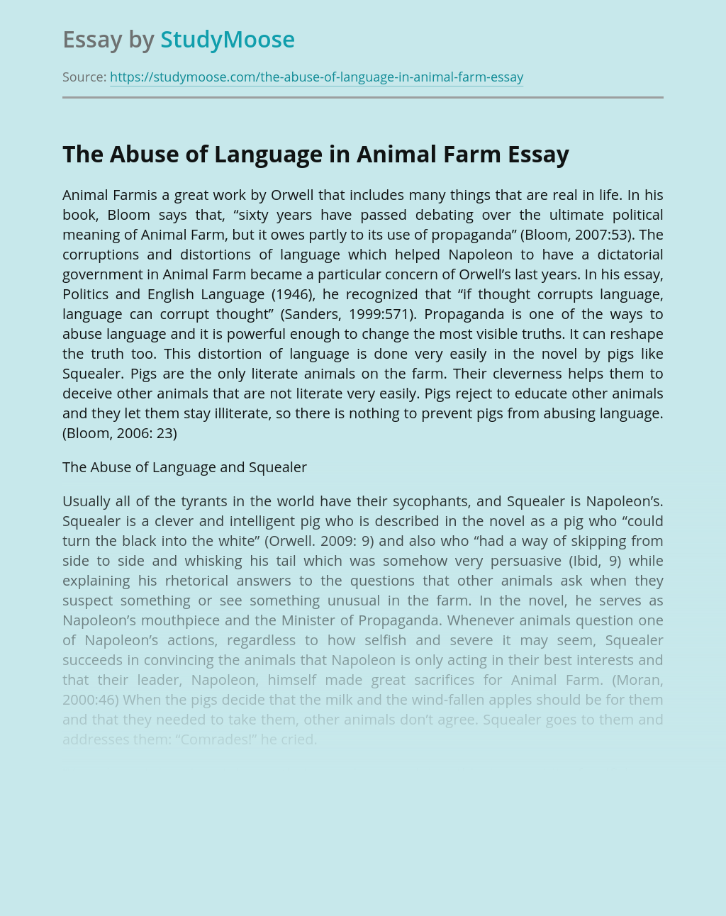 The Abuse of Language in Animal Farm